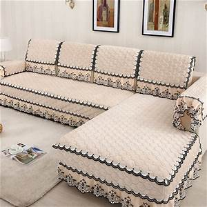 Fashion l shaped cover sofa towel pads fleeced fabric knit for Cody fabric 5 piece l shaped sectional sofa