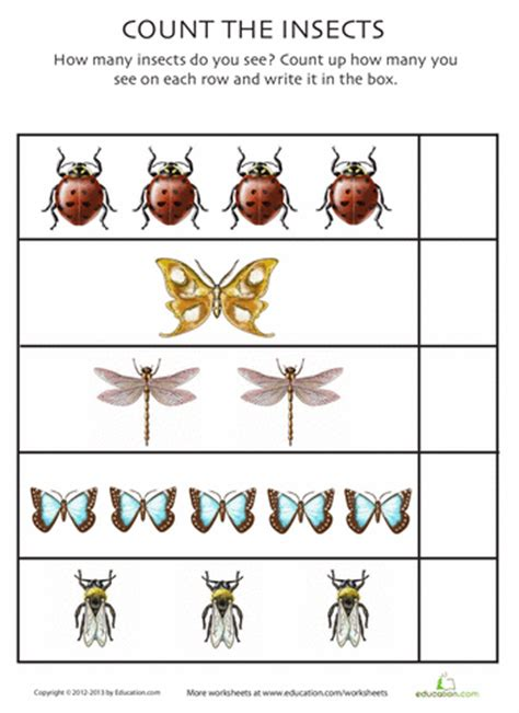 All About Bugs! 9 Insect Counting Worksheets Educationcom