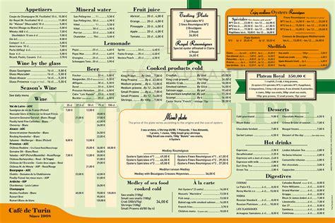 Menu Carte Restaurant Anglais by La Carte Cafe De Turin