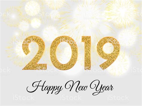 2019 Happy New Year Gold Fireworks On Light Background New