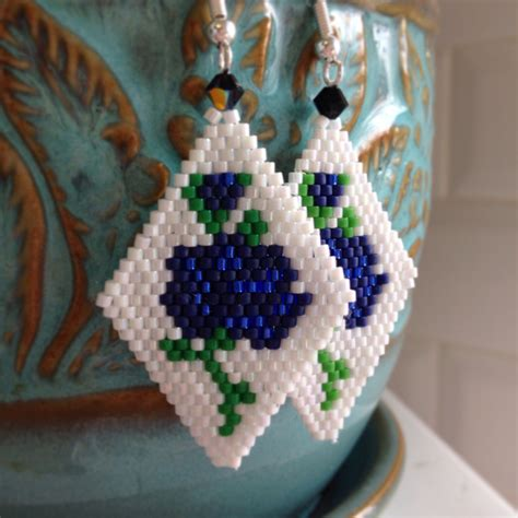 floral beaded delica earrings seed bead earrings beaded