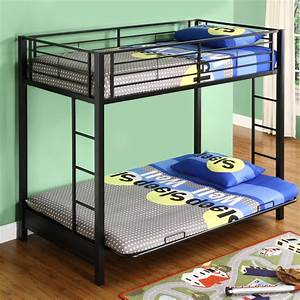 View larger for Metal bunk beds twin over full futon
