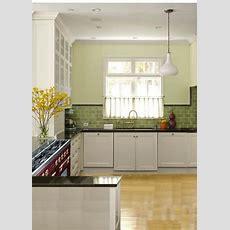 Sage Green Glass Subway Tile Kitchen With Quartz