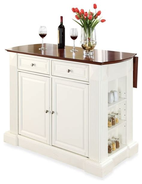 white kitchen island with breakfast bar crosley furniture hardwood drop leaf breakfast bar kitchen