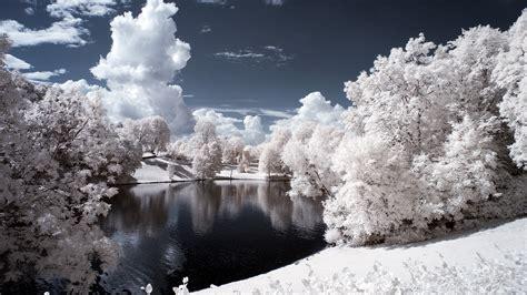 drivers bureau fond ecran hd hiver paysage sous neige et ciel bleu wallpaper