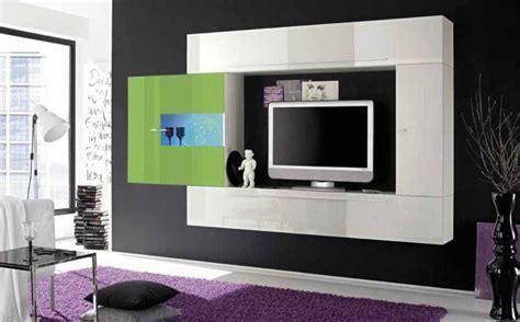 composition murale tv design primera 4 blanc et vert