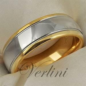 Tungsten Mens Ring 14K Gold Wedding Band 8mm Top Bridal