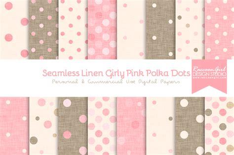 seamless linen girly pink polka dots textures