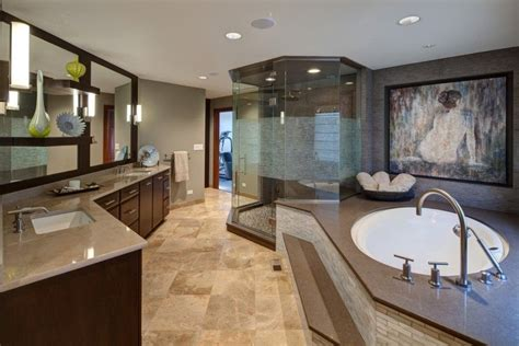 Bathroom Addition Steps by Spacious Master Bathroom With Step Up Tub And Glass Shower