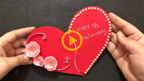 These trendy hanging paper lanterns are so fun to make , and i love the whimsical heart shaped design. Handmade Anniversary Card | Anniversary Gift Ideas | Heart Shape Greeting Card-#anniversary #Ca ...