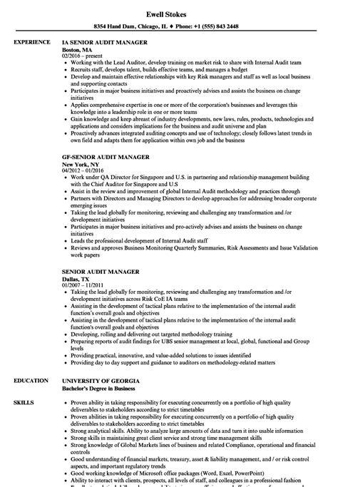 senior audit manager resume sles velvet