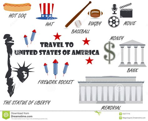 Welcome To Usa. Symbols United States. Set Of Icons