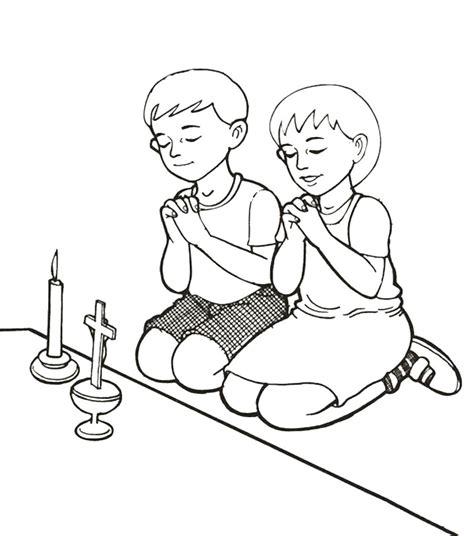 gambar mewarnai anak berdoa untuk sekolah minggu