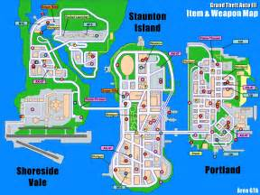 GTA 3 Weapons Locations Map