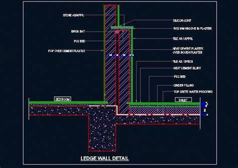 bathtub wall toilet ledge wall and floor sectional detail plan n design