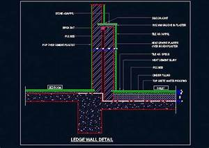 Toilet Ledge Wall And Floor Sectional Detail Plan n Design
