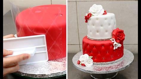 quilted cake decorating idea  cakesstepbystep youtube
