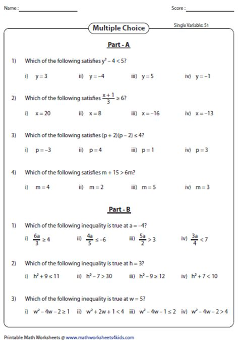 Evaluating Algebraic Expression Worksheets