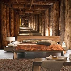herrlich rustikale wandgestaltung landhausstil rustikal With balkon teppich mit decke tapete vlies