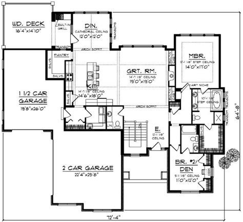 Craftsman House Plan   2 Bedrooms, 2 Bath, 2107 Sq Ft Plan