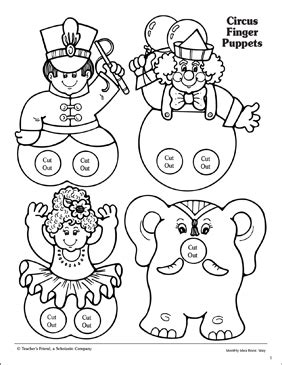 circus finger puppet patterns printable arts crafts