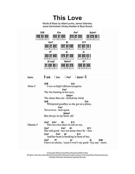 maroon 5 this love chord this love sheet music by maroon 5 lyrics piano chords
