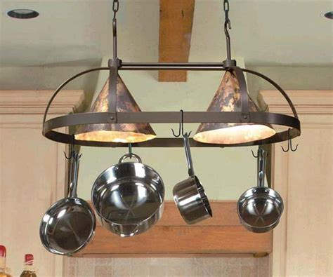 Copper Pot Rack With Lights by County Oval Lighted Pot Rack Iron Accents
