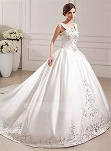 ball gown sweetheart cathedral train satin wedding dress With robe de mariée corset