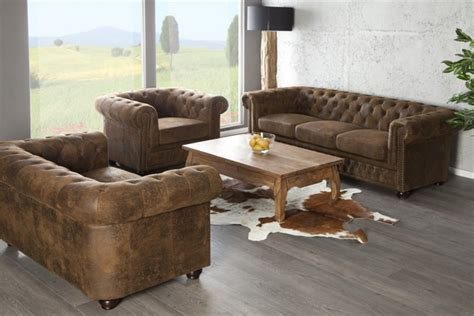 sous de bureau en cuir canapé chesterfield 3 places marron design