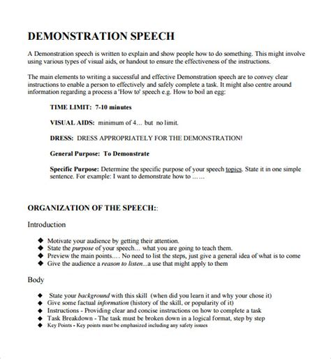 demonstration speech  templates sample templates