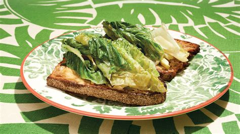 braised lettuce  anchovy toast recipe nyt cooking