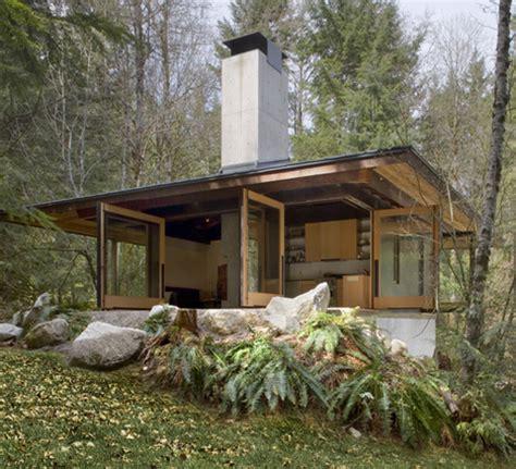 Open Cabin Future In Ruins Small Open Plan Concrete Wood Cabin