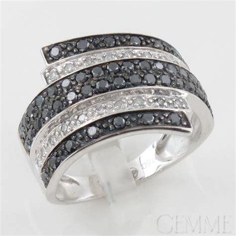 bague or blanc diamant taille moderne diamant noir
