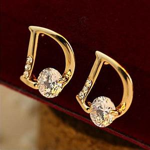 gold plated letter d stud earrings pluto99 With gold letter stud earrings