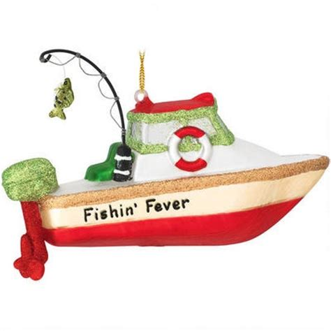 personalized fishing boat glass ornament it s christmas