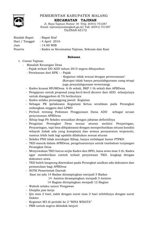 Contoh Notulen Rapat Kantor Pemerintah by Notulen Rapat Pemantauan Kecamatan Tajinan