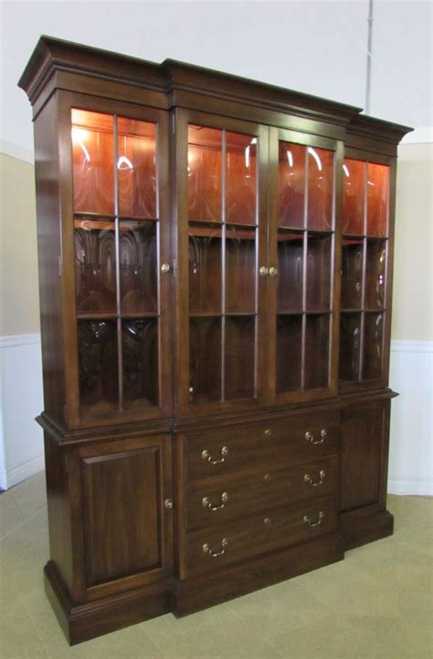 Antique Breakfront China Cabinet by Ethan Allen Georgian Court China Closet Cabinet