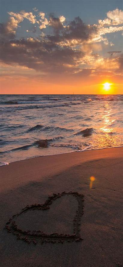 Iphone Beach Heart Valentine Wallpapers Backgrounds Sunset