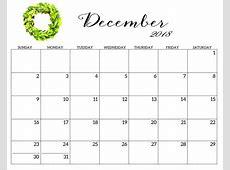 December 2018 Blank Template Calendar 2018 Calendar