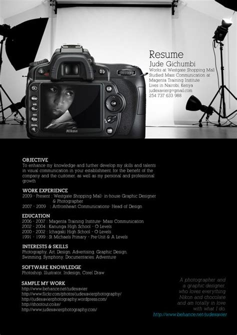 Creative Photographer Resume Templates great resume designs that catch attention and got hired photographers