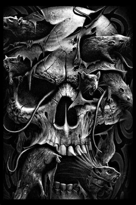 Skull Infested by Rats | Schädelkunst, Böse kunst, Dunkle