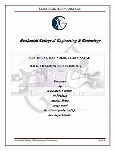 Lab Manual For Basic Electrical Engineering