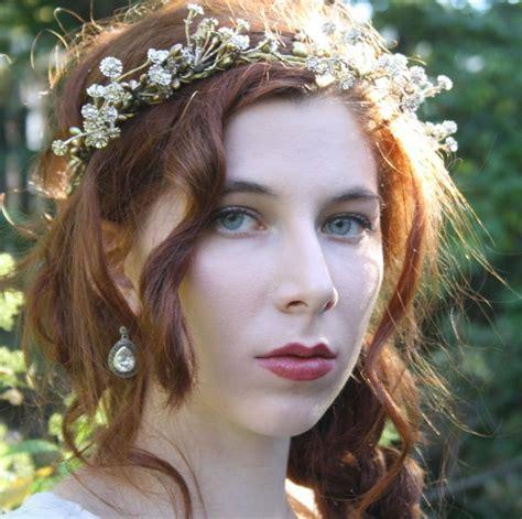 Gold Flower Crown Floral Crown Rustic Bridal Tiara Boho