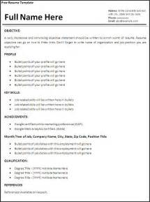 Work Resume Templates Resume Template Free Word 39 S Templates