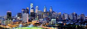 Philadelphia Skyline At Night Evening Panorama Photograph