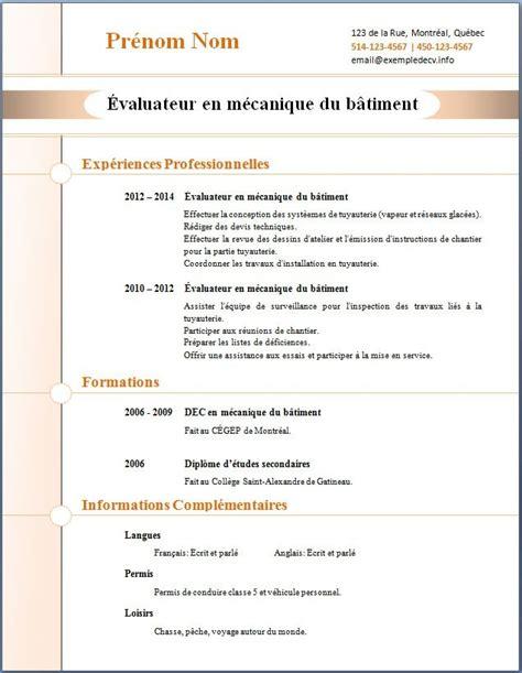 Modele Cv Professionnel Word Gratuit by Model Cv Professionnel Word Gratuit Modele De Cv Format