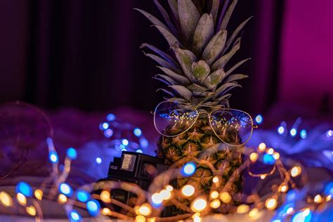 photo bokeh neon fairy lights pineapple string lights