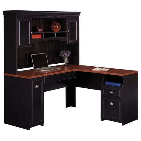 black l shaped office desk black stained oak wood office computer desk with hutch and