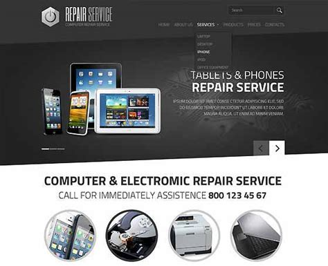 Computer Repair Web Template Free by Computer Repair Website Templates Pc Repair Themes Gridgum