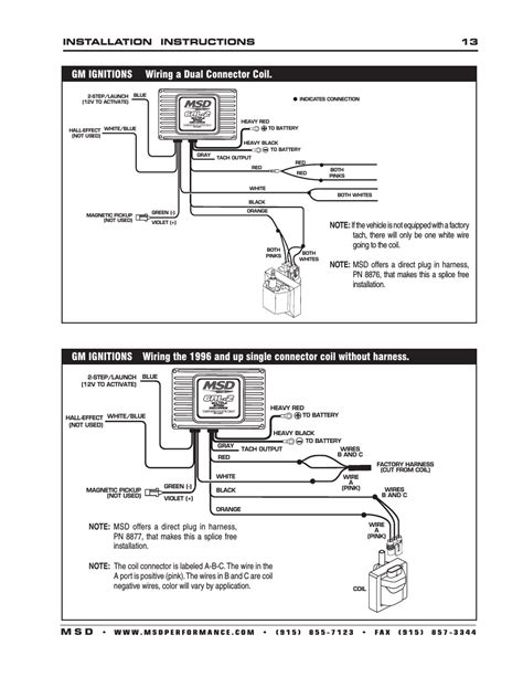 gm ignitions wiring a dual connector coil installation instructions 13 m s d msd 6421 6al 2